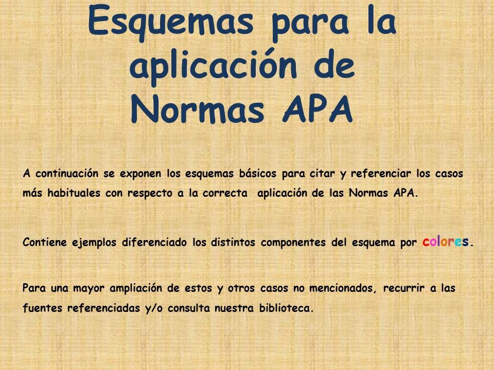 Esquemas para la aplicación de Normas APA